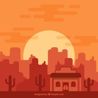 Monochromatic wild west background in flat design