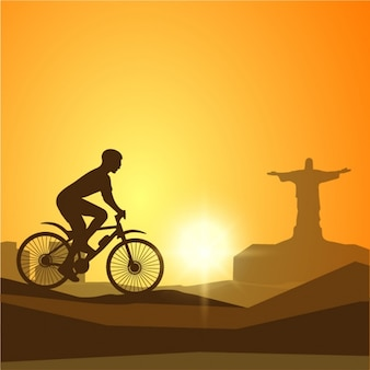 Monochrome background with cyclist silhouette