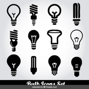 Monochrome bulb icons set