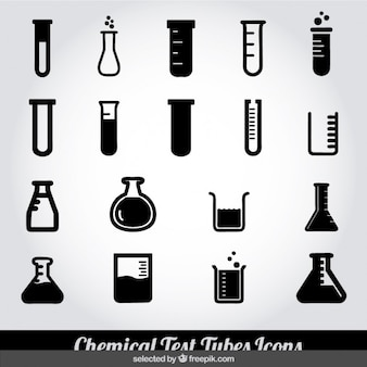 Monochrome chemical test tubes icons