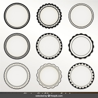 Monochrome circular labels