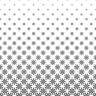 Monochrome geometric stylized flower pattern - background graphic design from curved shapes