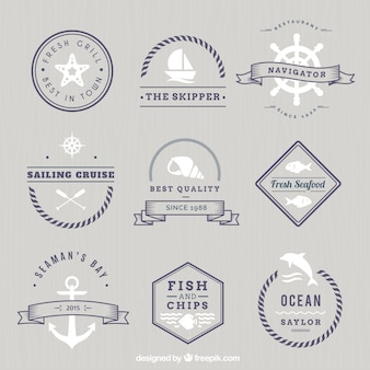 Monochrome nautical badges