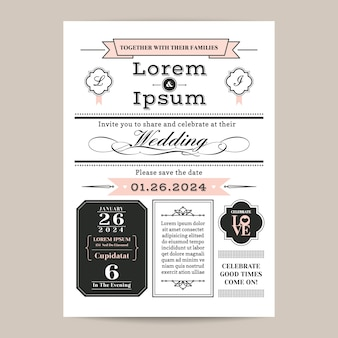 Monogram wedding invitation template with black, white and pink pastel color