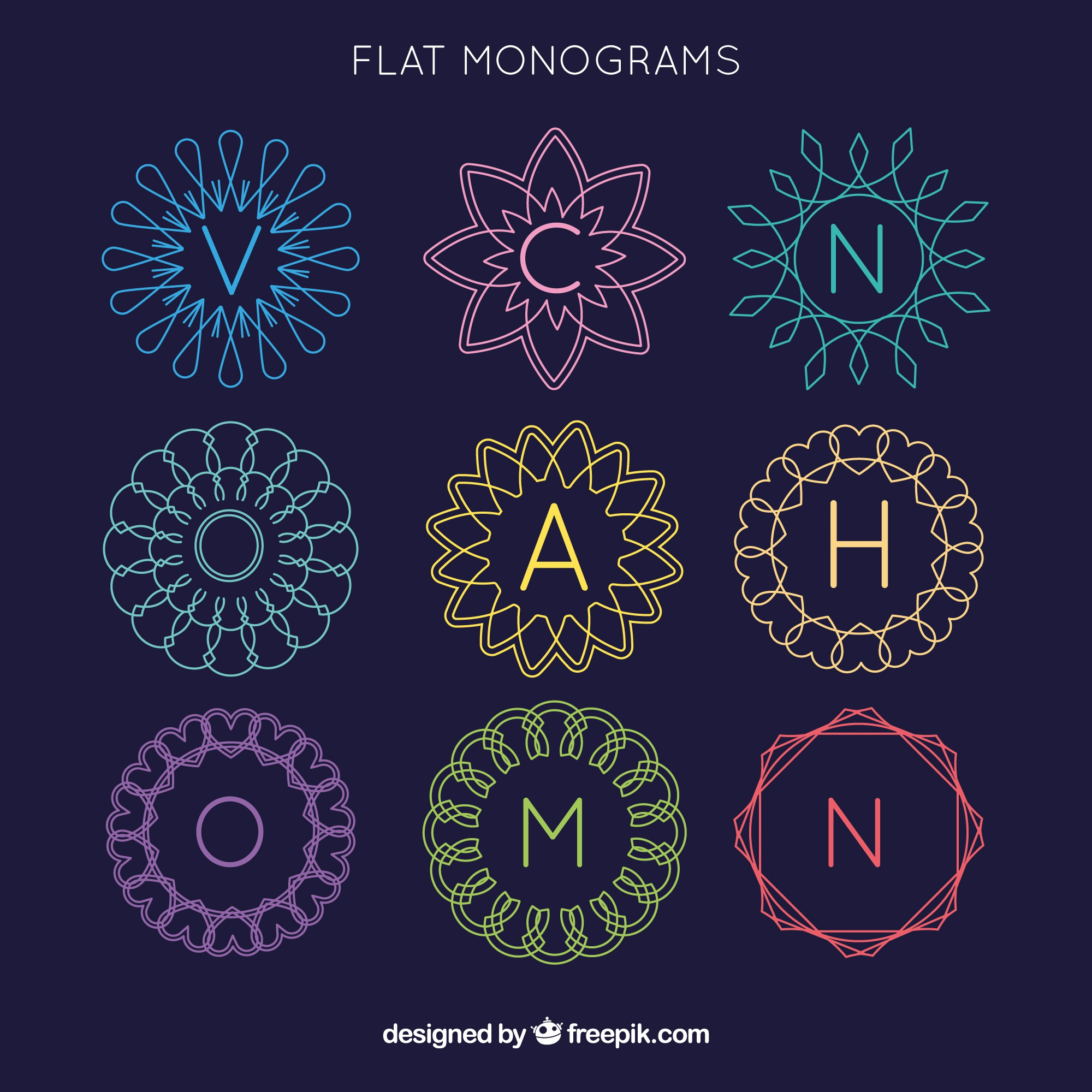 Monograms collection of colors in flat design