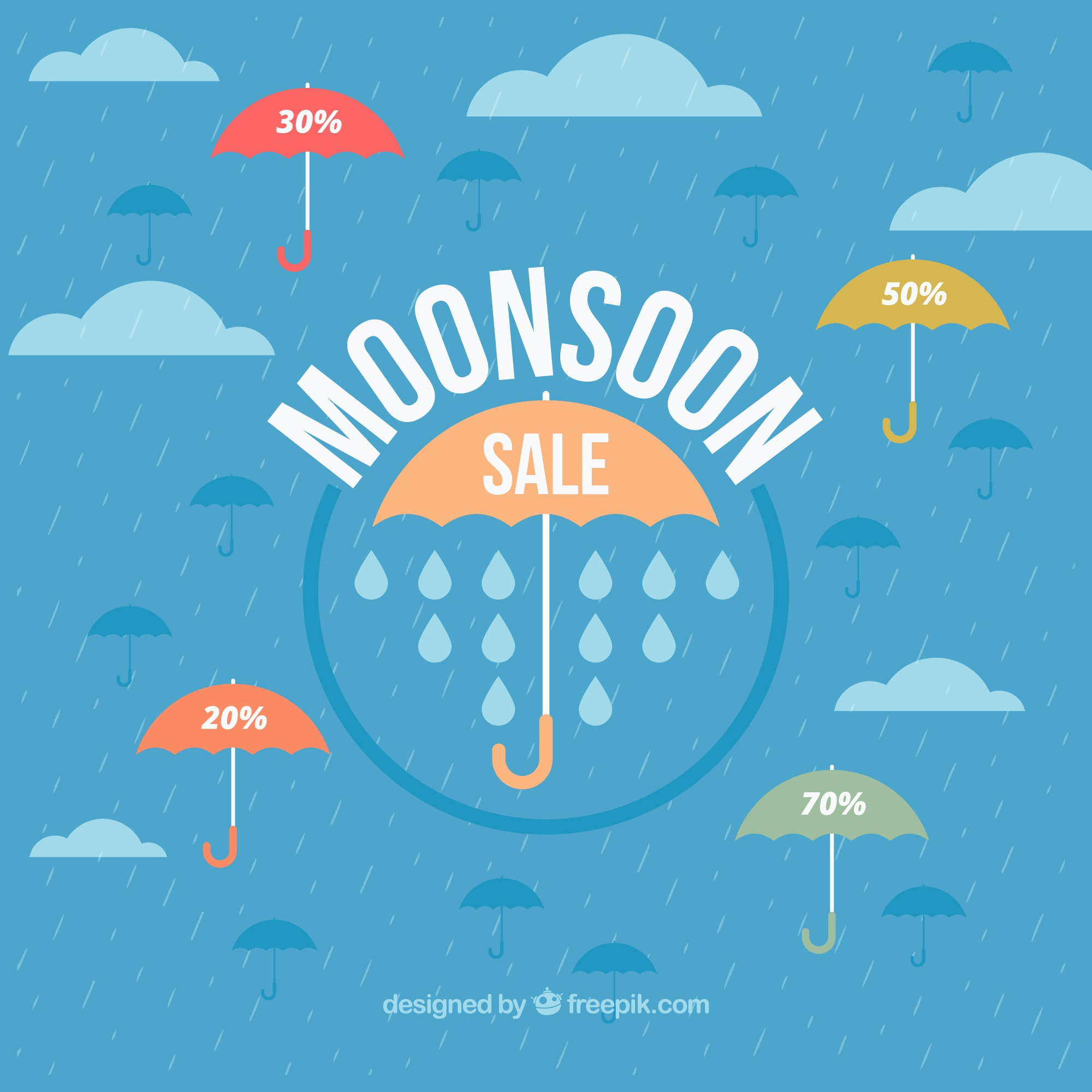Monsoon sale background with umbrella in flat design