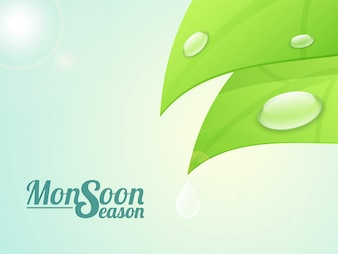Monsoon Season background with illustration of water drops on glossy green leaves.