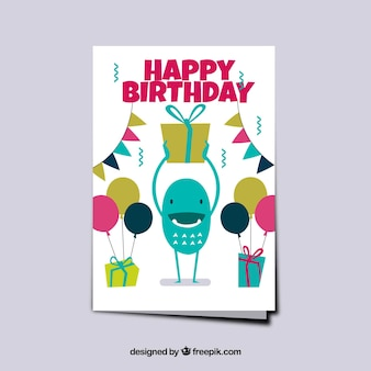 Monster birthday card with balloons