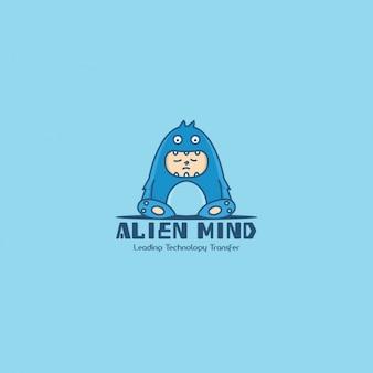 Monster logo, blue background