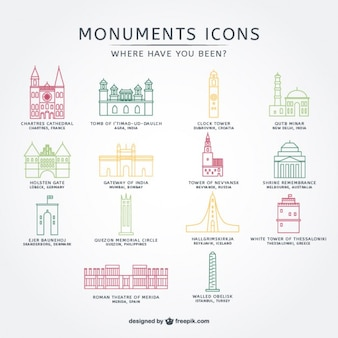 Monuments icons collection