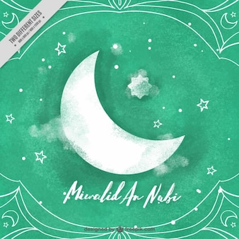 Moon and stars background and celebration of mawlid