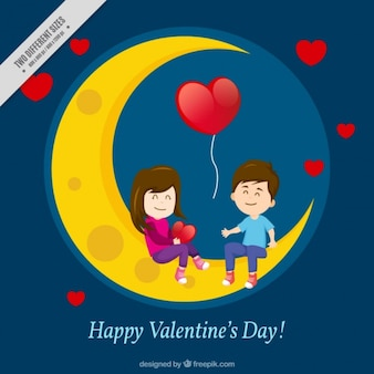 Moon background and couple in love