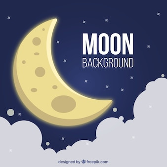 Moon background in the sky with clouds