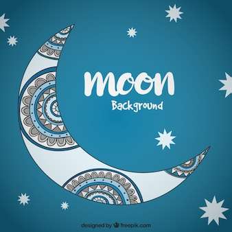 Moon background with ethnic hand drawn details