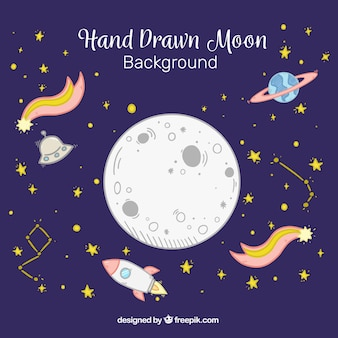 Moon background with shooting stars and rockets in hand-drawn style