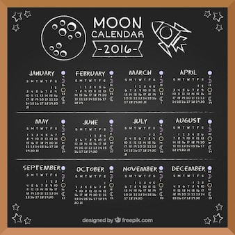 Moon calendar 2016 in blackboard