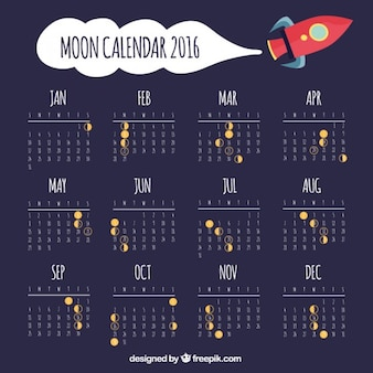Moon calendar with space ship