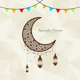 Moon design with lanterns for ramadan kareem