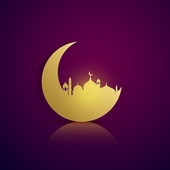 Moon silhouette background and golden mosque