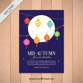 Moon with lanterns mid-autumn festival brochure