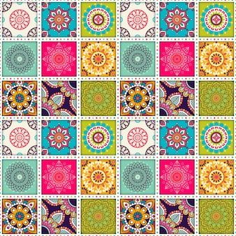 Moroccan tile pattern with mandalas