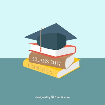 Mortarboard background with books