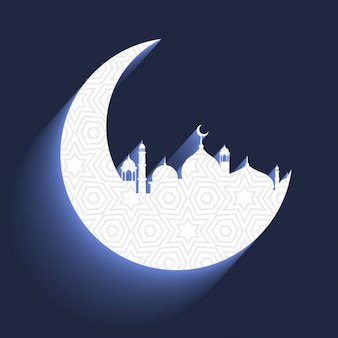Mosque in crescent moon