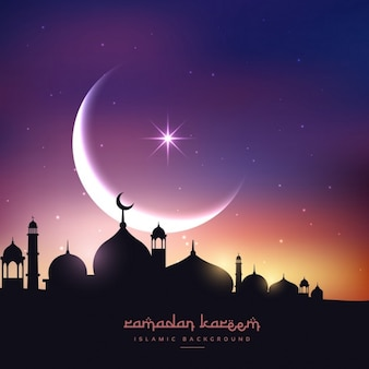 Mosque silhouette in night sky with crescent moon and stars