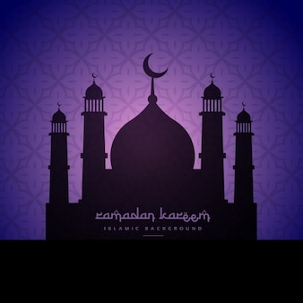 Mosque silhouette in purple background
