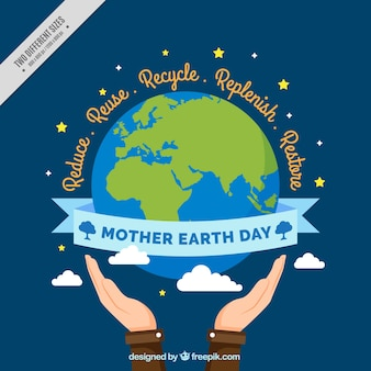 Mother earth day background with hands next to the planet earth