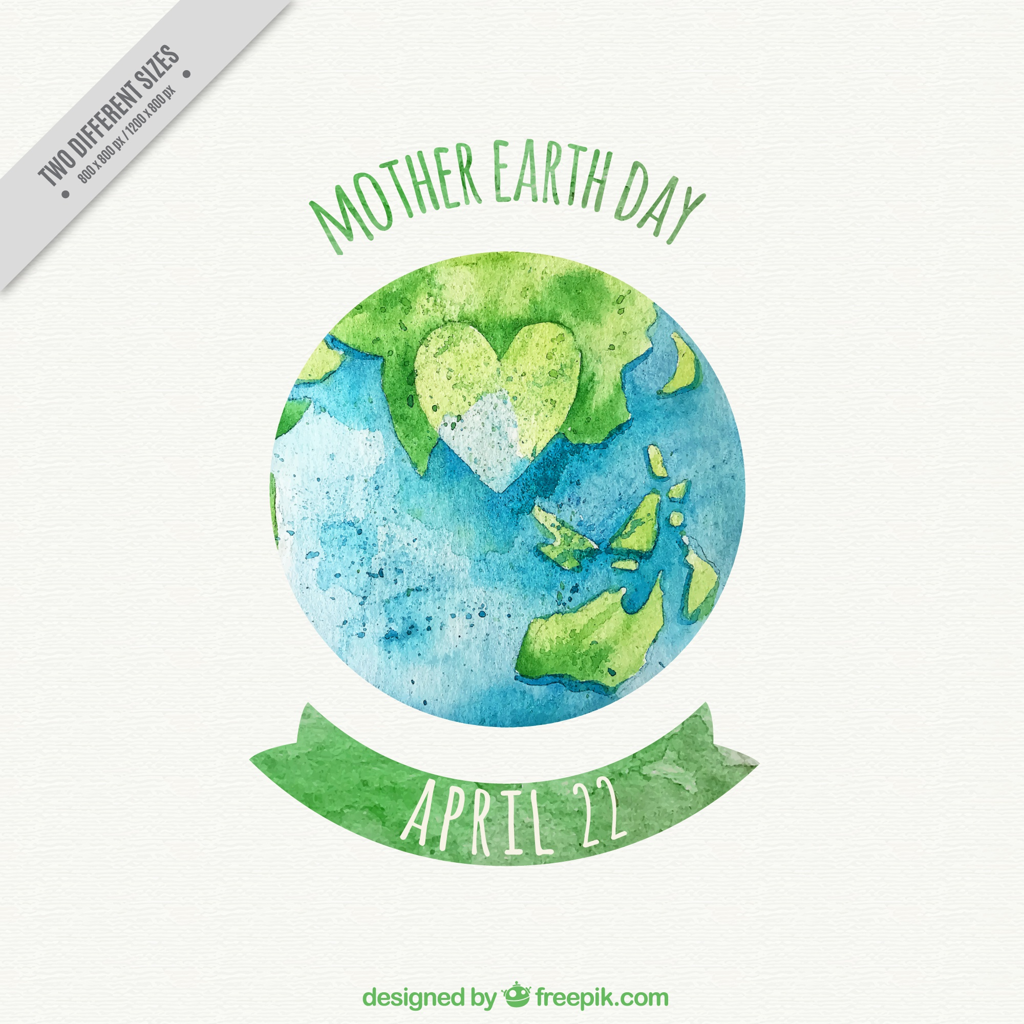 Mother earth day background with planet earth and heart