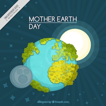 Mother earth day background with sun and moon
