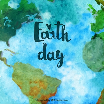 Mother earth day background with watercolor world map