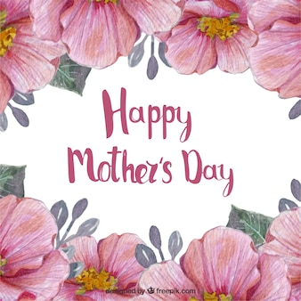 Mother's day background with cute flowers in watercolor style