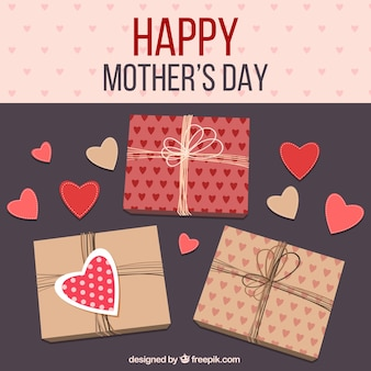 Mother's day background with gifts and hearts