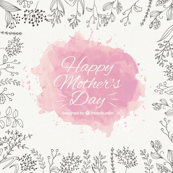 Mother's day background with pink watercolor stain