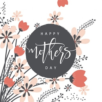 Mother's day background with red and pink flowers
