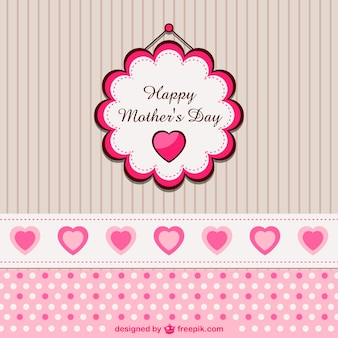 Mother's day badge over cute wall with hearts