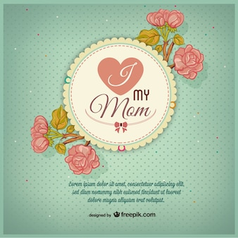 Mother's Day badge with pink flowers
