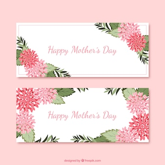 Mother's day banners with cute flowers