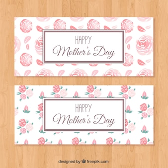 Mother's day banners with flowers in pink tones