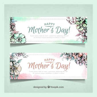 Mother's day banners with watercolor flowers