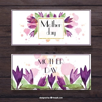 Mother's day banners with watercolor lilac flowers