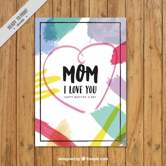 Mother's day card with brush strokes