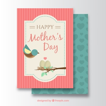 Mother's day card with cute bird and eggs