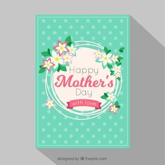 ドットと花の飾りのついた母の日カード
