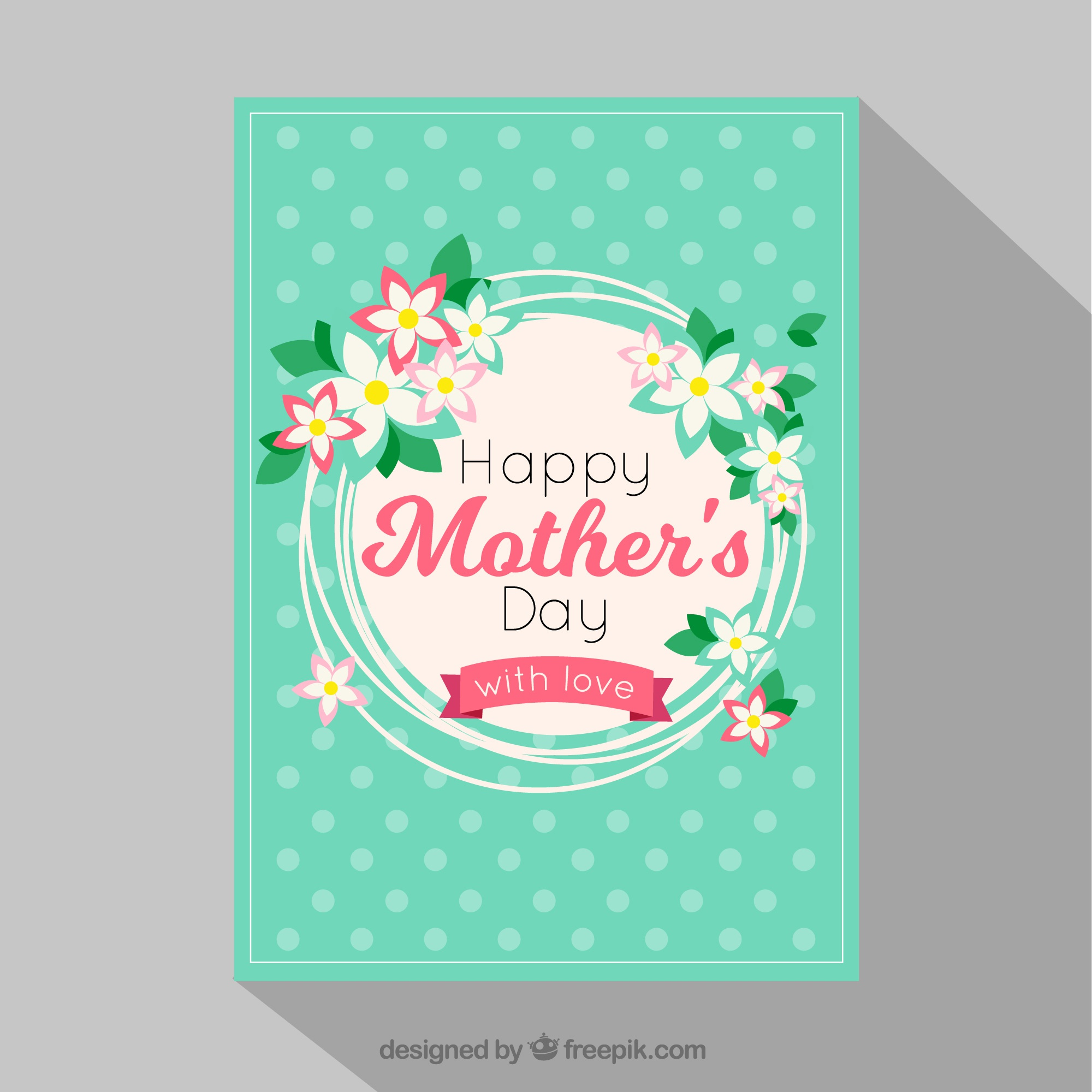 Mother's day card with dots and floral decoration