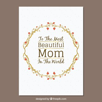 Mother's day card with floral wreath