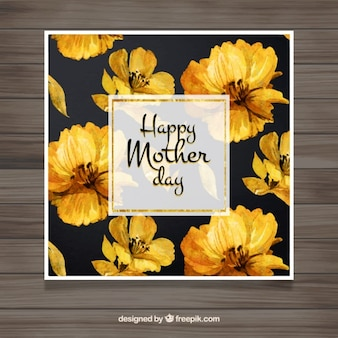 Mother's day card with watercolor yellow flowers
