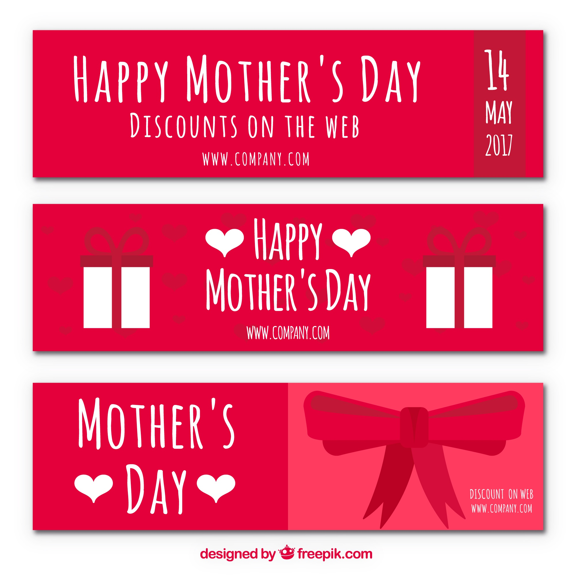 Mother's day discount banners with bow and gifts